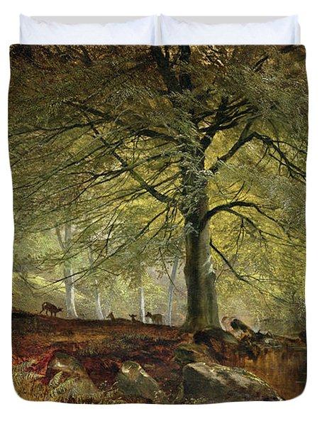 Deer In A Wood Duvet Cover by Joseph Adam