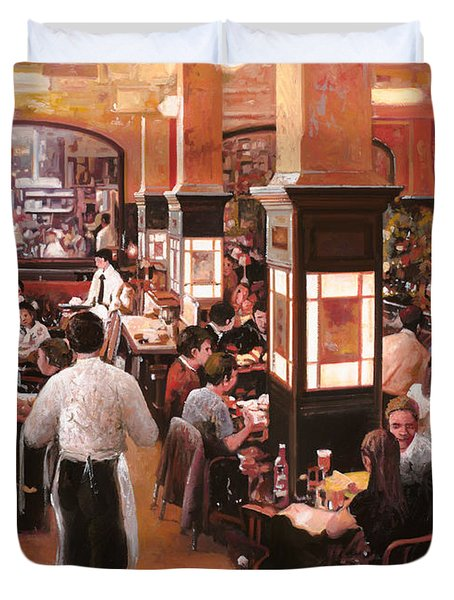 dentro il caffe Duvet Cover by Guido Borelli