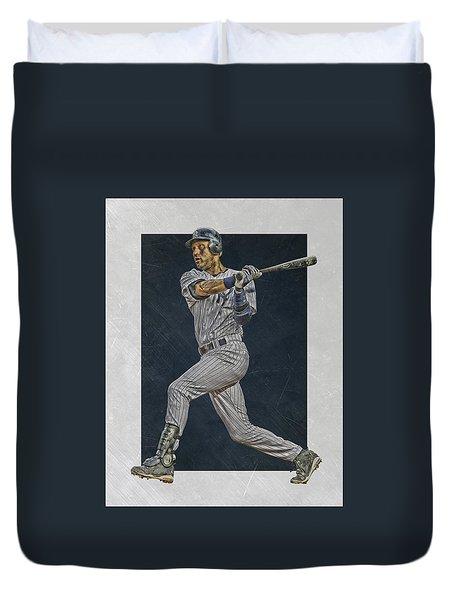 Derek Jeter New York Yankees Art 2 Duvet Cover by Joe Hamilton
