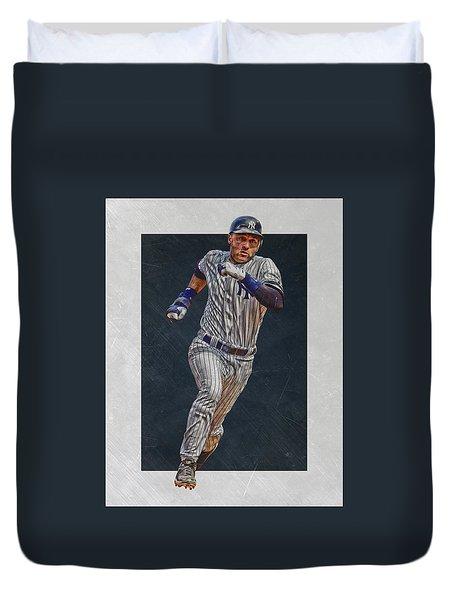 Derek Jeter New York Yankees Art 3 Duvet Cover by Joe Hamilton