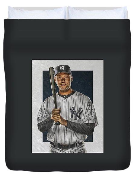 Derek Jeter New York Yankees Art Duvet Cover by Joe Hamilton