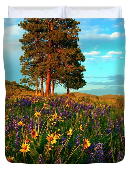 Desert Pines Meadow Duvet Cover by Mike  Dawson