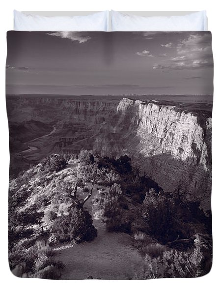 Desert View At Grand Canyon Arizona Bw Duvet Cover by Steve Gadomski