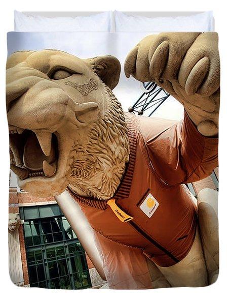 Detroit Tigers Tiger statue outside of Comerica Park Detroit Michigan Duvet Cover by Gordon Dean II