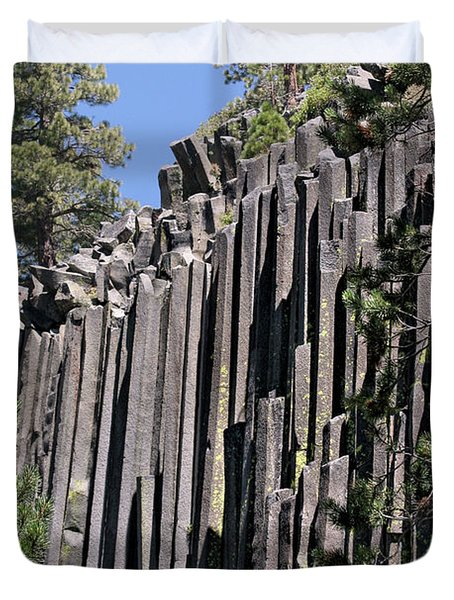 Devils Postpile National Monument - Mammoth Lakes - east California Duvet Cover by Christine Till