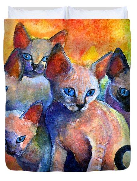 Devon Rex Kittens Duvet Cover by Svetlana Novikova