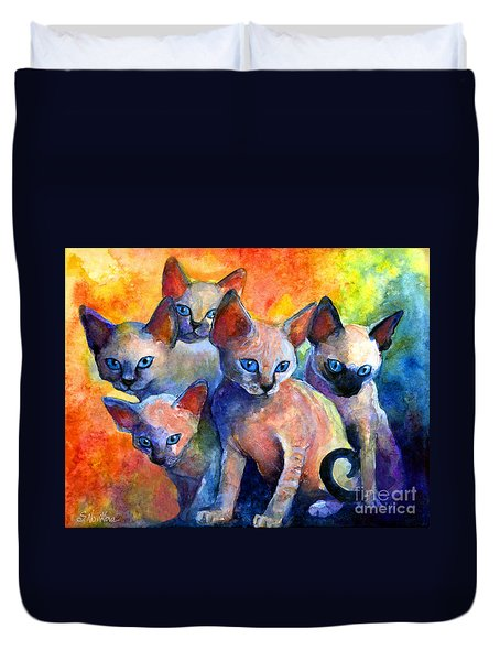 Devon Rex Kitten Cats Duvet Cover by Svetlana Novikova