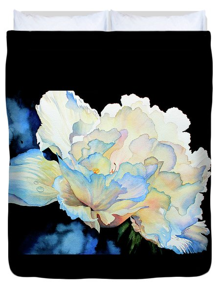 Dew Drops On Peony Duvet Cover by Hanne Lore Koehler