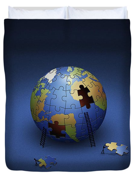 Digitally Generated Image Of The Earth Duvet Cover by Vlad Gerasimov