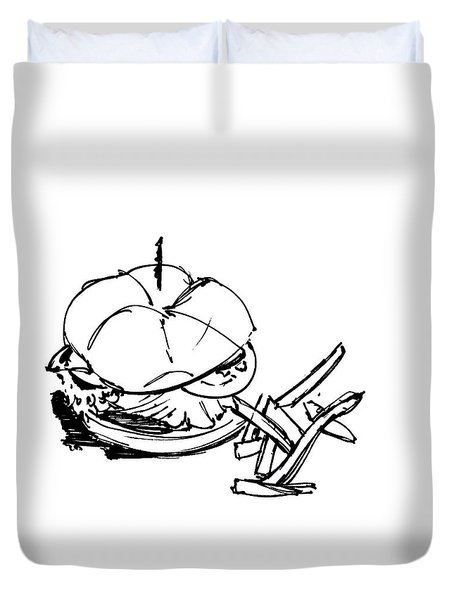 Diner Drawing Charbroiled Chicken 1 Duvet Cover by Chad Glass