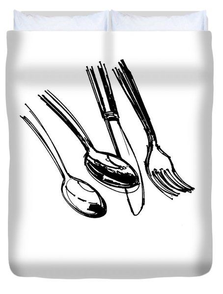 Diner Drawing Spoons, Knife, And Fork Duvet Cover by Chad Glass