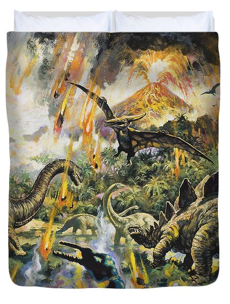 Dinosaurs And Volcanoes Duvet Cover by English School