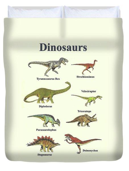 Dinosaurs Montage - Portrait Duvet Cover by Michael Vigliotti