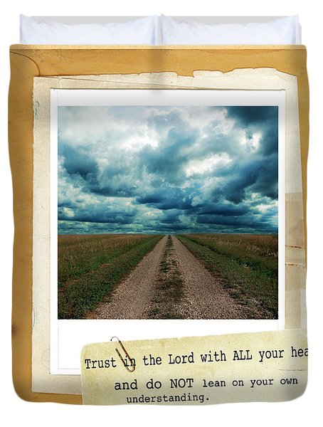 Dirt Road With Scripture Verse Duvet Cover by Jill Battaglia