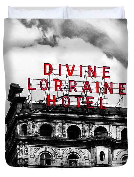 Divine Lorraine Hotel Marquee Duvet Cover by Bill Cannon
