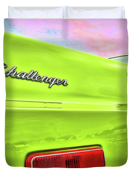 Dodge Challenger In Sublime Green Duvet Cover by Gordon Dean II