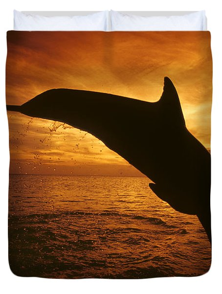 Dolphins And Sunset Duvet Cover by Dave Fleetham - Printscapes