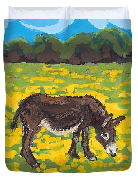 Donkey And Buttercup Field Duvet Cover by Sarah Gillard