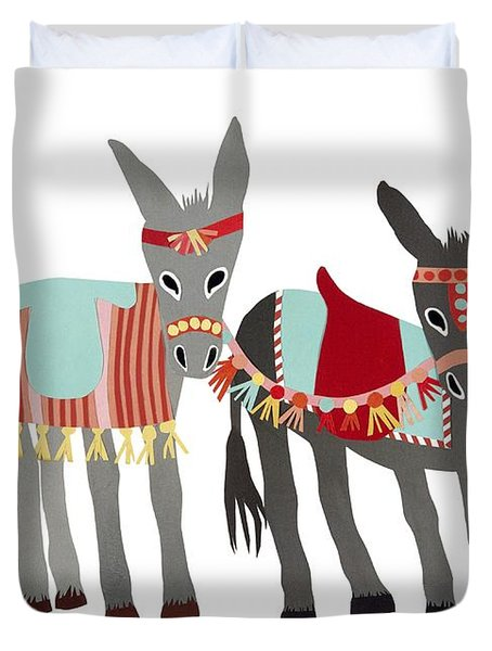 Donkeys Duvet Cover by Isoebl Barber