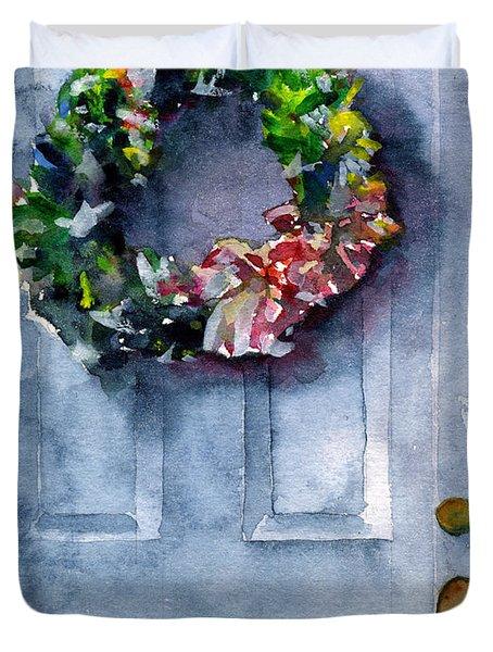 Door Wreath Duvet Cover by John D Benson