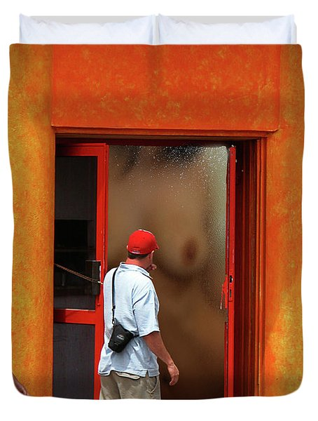 Doorway Undressing Duvet Cover by Harry Spitz