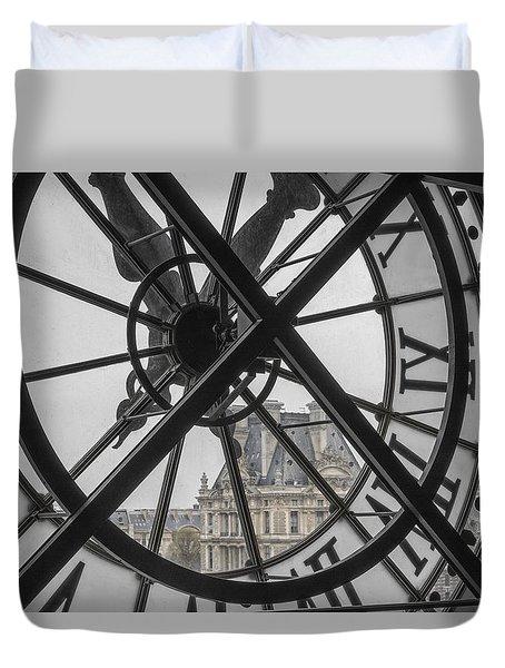 D'orsay Clock Paris Duvet Cover by Joan Carroll