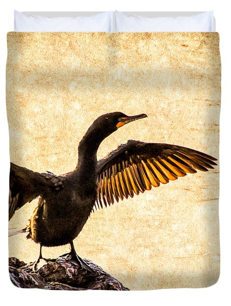 Double-crested Cormorant Duvet Cover by Bob Orsillo