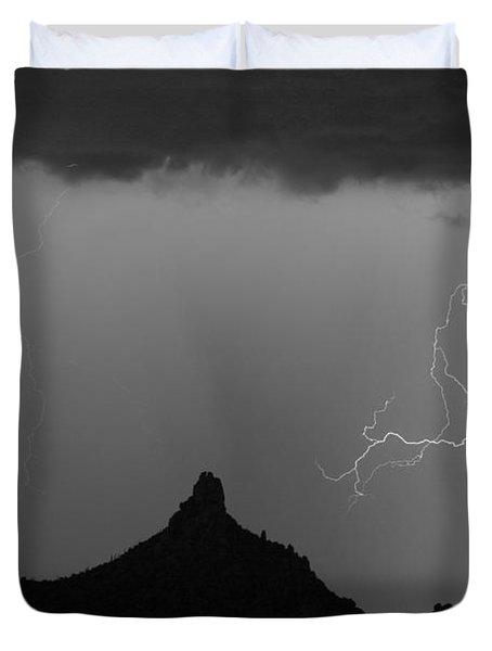 Double Lightning Pinnale Peak Bw Fine Art Print Duvet Cover by James BO  Insogna