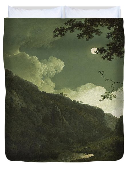 Dovedale By Moonlight Duvet Cover by Joseph Wright of Derby