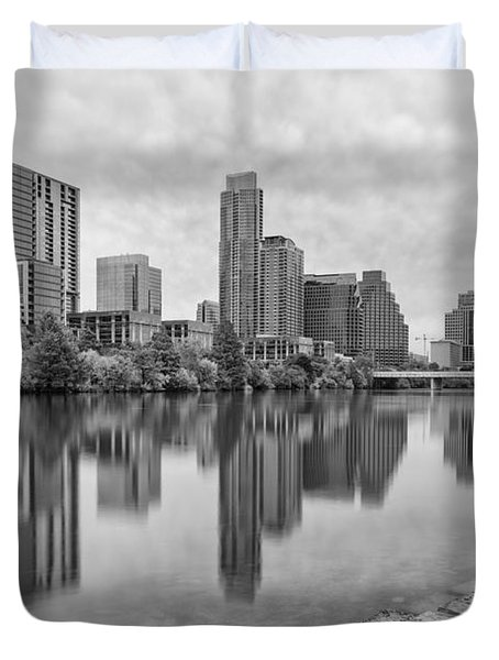 Downtown Austin In Black And White Across Lady Bird Lake - Colorado River Texas Hill Country Duvet Cover by Silvio Ligutti