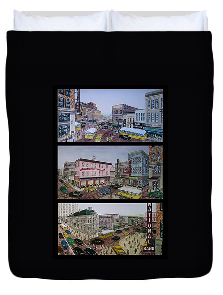 Downtown Portsmouth 1948 Duvet Cover by Frank Hunter