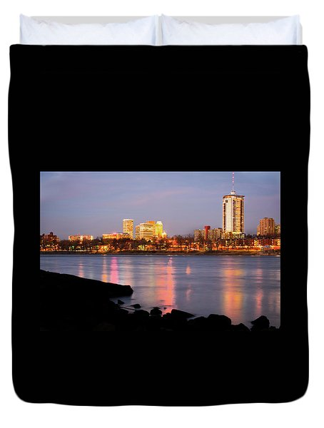 Downtown Tulsa Oklahoma - University Tower View Duvet Cover by Gregory Ballos