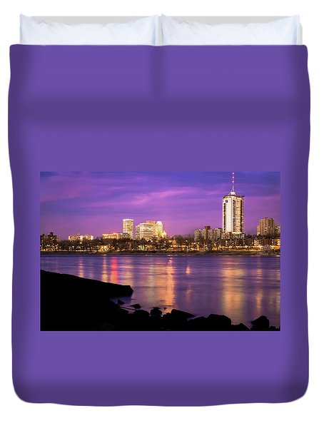 Downtown Tulsa Oklahoma - University Tower View - Purple Skies Duvet Cover by Gregory Ballos