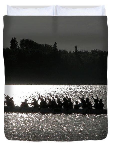 Dragon Boat Silhouette Duvet Cover by Stuart Turnbull