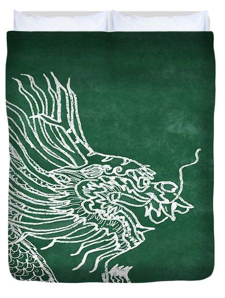 Dragon On Chalkboard Duvet Cover by Setsiri Silapasuwanchai