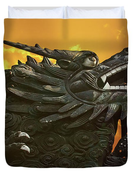 Dragon Wall - Yu Garden Shanghai Duvet Cover by Christine Till