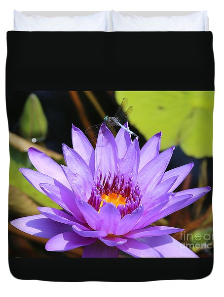 Dragonfly On Water Lily Duvet Cover by Carol Groenen