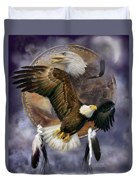 Dream Catcher - Spirit Eagle Duvet Cover by Carol Cavalaris