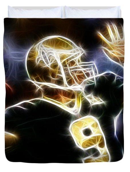 Drew Brees New Orleans Saints Duvet Cover by Paul Van Scott