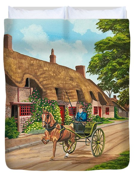 Driving a Jaunting Cart Duvet Cover by Charlotte Blanchard