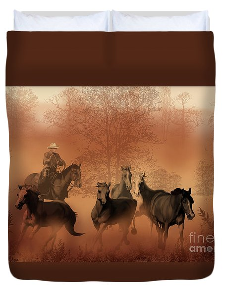 Driving The Herd Duvet Cover by Corey Ford