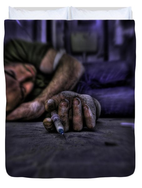 Drug Addict Shooting Up Duvet Cover by Guy Viner