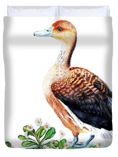 Duck And Daisies Duvet Cover by Sandra Moore