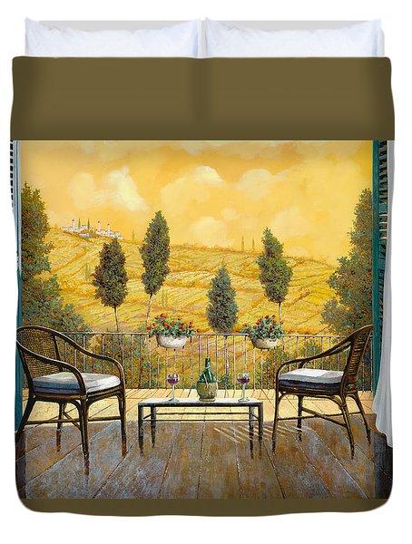 due bicchieri di Chianti Duvet Cover by Guido Borelli
