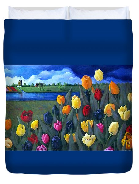 Dutch Tulips With Landscape Duvet Cover by Joyce Geleynse