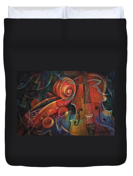Dynamic Duo - Cello And Scroll Duvet Cover by Susanne Clark