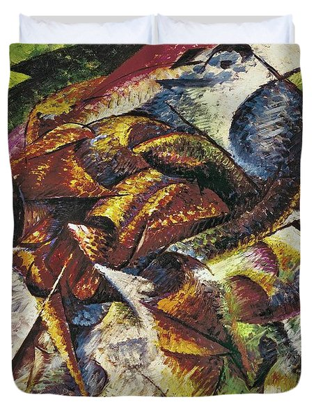 Dynamism Of A Cyclist Duvet Cover by Umberto Boccioni