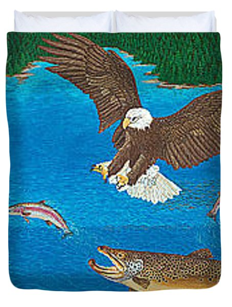 Eagle Trophy Brown Trout Rainbow Trout Art Print Blue Mountain Lake Artwork Giclee Birds Wildlife Duvet Cover by Baslee Troutman