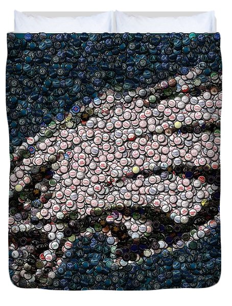 Eagles Bottle Cap Mosaic Duvet Cover by Paul Van Scott
