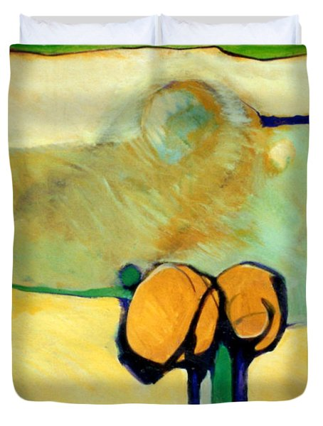 Early Blob 2 Jump Rope Duvet Cover by Marlene Burns